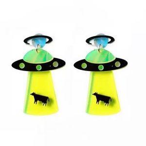 Trendy Neon UFO Statement Drop Earrings